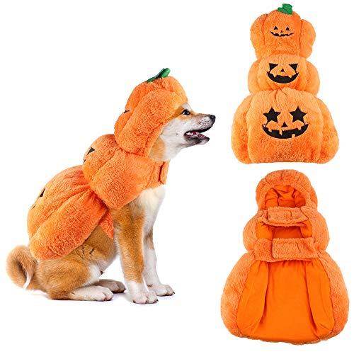 (SymbolLife Halloween Kostüme für Hunde Kürbis Hundemantel Hundejacke Warm Haustier Hund Katze Cosplay Kleider Einfaches An- und Ausziehen (XL))