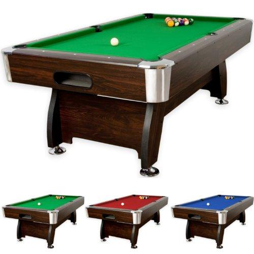 """8 ft Billardtisch """"Premium"""", Korpus dunkles Holzdekor, 3 Farbvarianten, Maße ca. 2440 x 1320 x 820 mm (LxBxH), massive Ausführung + Zubehör (2x Queue, Kugelset, Dreieck, Kreide, Bürste) Pool Billard 8 Fuß"""