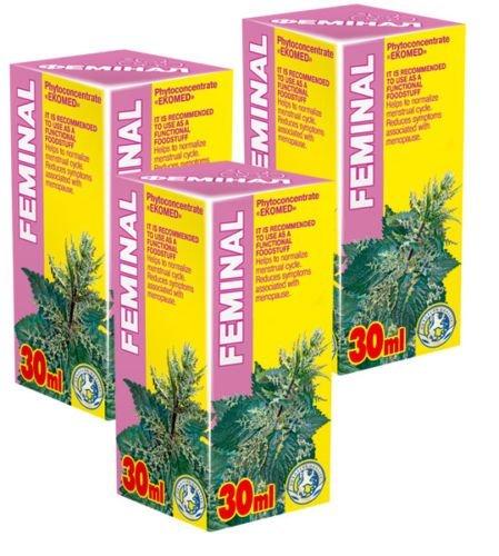 Feminal Phyto Konzentrat - Pack von 3-21 Tage Kurs - Natürliche Pflanzenextrakte Komplex - Wechseljahre - Menopause - Tages-therapie-kombination-pack