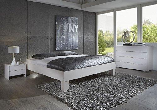 Dreams4Home Schlafzimmerkombination Massivholzbett, Bett, Massivholz, Buche \'Palermo\' 90, 100, 120, 140, 160, 180, 200x200 cm, weiß, Liegefläche:180x200 cm