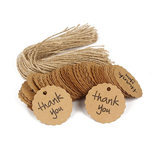 MagiDeal Pack of 100 Thank You Kraft Paper Gift Tags Store Food Packaging Sales Tags Labels with String