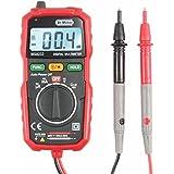 Dr.Meter® MS8232 Mini Multimetro Digitale Auto-Range, Misuratore Voltaggio, Corrente, Resistenza, Display LCD Retroilluminato, Rilevamento NCV, Colore Rosso