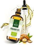 WoldoHealth I Bio Arganöl aus Marokko I 100% rein kaltgepresst I 100ml I Vegan I Argan Öl in Lichtschutz Glas-Flasche I Gesichtspflege & Körper Öl
