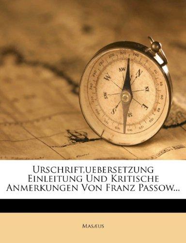 Musaeos: Urschrift, Uebersetzung, Einleitung und kritische Anmerkungen.