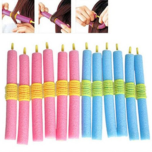 Homeoculture 12pcs Hair Curling rollers Flexi rods Magic Air Hair Roller Curler Bendy Hair Sticks random colors
