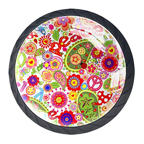 Mandala de colores brillantes Perillas de los cajones efecto visual 3D de...