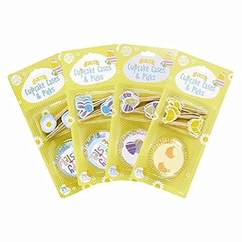 Ostern Cupcake Fällen und Picker–48Stück, blau, 25cm x 11cm x 3cm