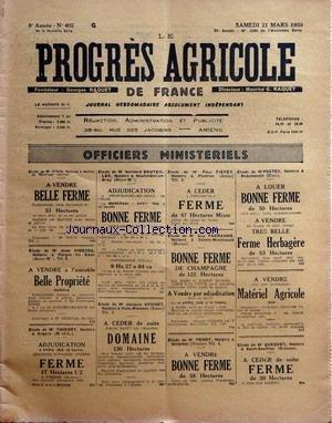 PROGRES AGRICOLE DE FRANCE (LE) [No 402] du 21/03/1959 - officiers ministeriels - paul daizac - p+«erre arfeuilles agriculture par le francois et le bret - jurisprudence par lex - machinisme agricole par marguerin - les marches - aviculture par gallus - le progres agricole - economie rurale par rene - aviculture par gallus - apiculture par caillas