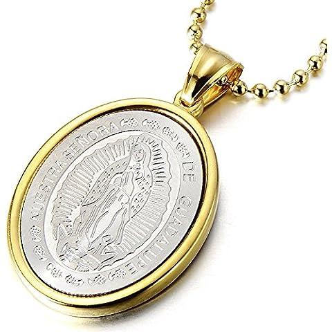 Gold Virgen Maria ovalada Milagrosa Medalla Colgante de acero inoxidable collar para hombres