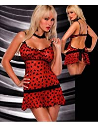 Illusion Cami Set in Red Colour Women's Sexy Lingerie (One Size, fit 8-10)
