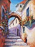 Artland Qualitätsbilder I Bild auf Leinwand Leinwandbilder Wandbilder 45 x 60 cm Architektur Gebäude Malerei Bunt C0DT Mediterrane Impressionen