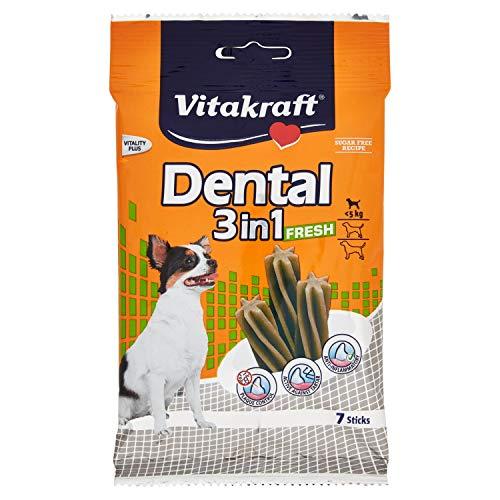 Vitakraft 3 in 1 Dental Fresh Snack per Cane XS 70 g - Set di 4 (4 x 7 bastoni)