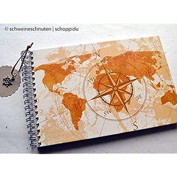 Reisetagebuch DIN A5 Weltkarte und Kompass Vintage