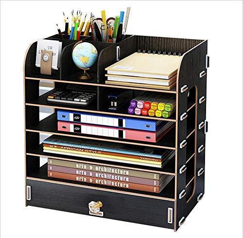 MYMAO 0Büro-Schreibtisch-Aufbewahrungsbox liefert große mehrschichtige Schubladen-Ordner Schreibtisch Raum Holz Speicher-Rack,Black - Ahorn Kiefer Schreibtisch