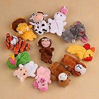 Fulltime(TM) 12Pcs Chinese Zodiac Soft Animal Puppet Finger Toys Plush Toys
