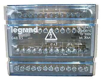Legrand LEG04885 Répartiteur modulaire monobloc 4P 40 A 13 connexions 6 modules