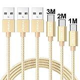 iVoler Câble USB C à USB A 3.0 (Lot de 3 / 1M+2M+3M) en Nylon Cordon Chargeur USB...