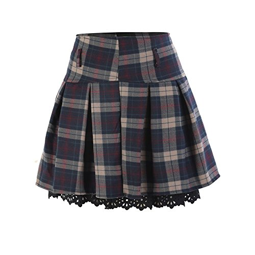 Yalatan Fashion Short Plaid Skirt High-Waist Pleated Mini Skirt A-Line Skirts Plus Size