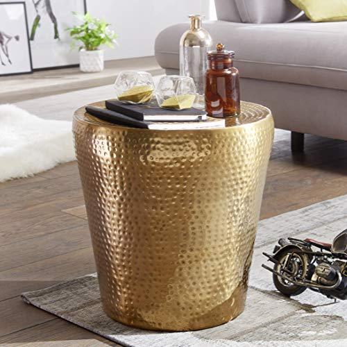 FineBuy Beistelltisch VAKRIM 41x41x41cm Aluminium Gold Dekotisch Orientalisch Rund | Kleiner Hammerschlag Abstelltisch | Designer Ablagetisch Metall Modern | Anstelltisch Schmal
