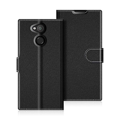 COODIO Sony Xperia L2 Hülle Leder Lederhülle Ledertasche Wallet Handyhülle Tasche Schutzhülle mit Magnetverschluss/Kartenfächer für Sony Xperia L2, Schwarz