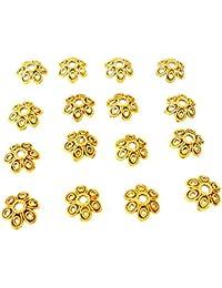 01826f348 Jaz's Antique Golden Bead Cap Tibetan Style Six Petal (Leaf) Size 10x3mm  Hole Size