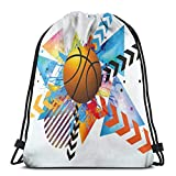 Drawstring Tote Bag Gym Bags Storage Backpack, Basketball In Front of Zigzag Circular Geometric Minimalist Forms Graphic Print,Very Strong Premium Quality Gym Bag for Adults & Children