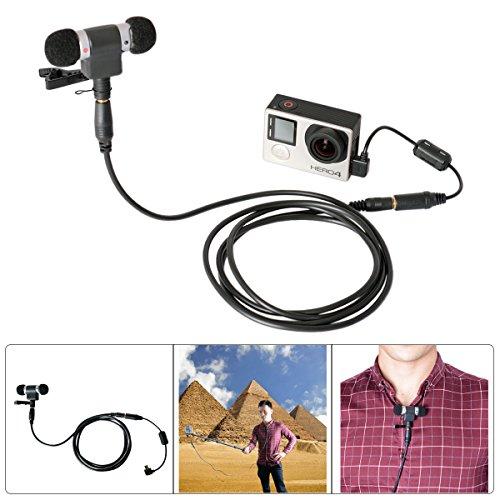 Fantaseal Stereo Mikrofon Set für GoPro Mikrofon GoPro Reisen Mikrofon GoPro Interview Mic mit GoPro Mini Stereo Mikrofon 3.5mm Mic-Adapter + Anti-Stoerung ferritring + Mini Mic-Klammer + Tragtasche + Erweitere Kabel f. GoPro Hero 4 / Hero 3 + / Hero 3