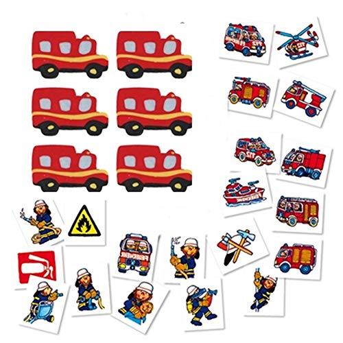 KSS 8 X Tattoo Feuerwehr und 8 X Radiergummi Feuerwehr für Kindergeburtstag , Tombola , Verlosung als Mitbringsel Mitgebsel
