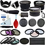 PLR Optics 58mm Complete Essential Filter And Lens Deluxe Kit - Includes:.42X Fisheye Lens + .43x Wide Angle & 2.2x Telephoto Lens + Filter Kit (UV, CPL, ND9, FLD) + Macro Close Up Set + Special Effects Kit + Accessory Kit For The Canon Digital EOS Re