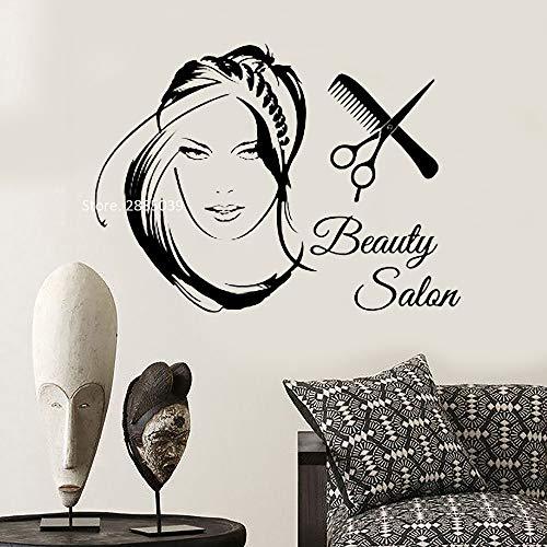 yaoxingfu Neue Schönheitssalon Logo Wandtattoos Vinyl Wohnkultur Kunst Aufkleber Frau Mit Stilvollen Haarscheren Haarschnitt Wandbild Lc gelb M 76 cm x 56 cm