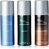 Jaguar Deo, Classic Amber, 150ml with Deo, Classic, 150ml and Deo for Men, 150ml