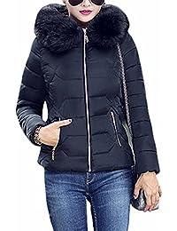 YMING Femme Manteau Hiver Jacket Court Veste à Capuche Fourrure Chaud  Blouson Parka Veston,XXS 57545a149a10