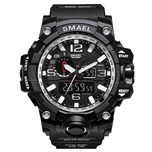 Orologio militare uomo orologio digitale e analogico da uomo, orologio da polso da uomo, stile militare, con led, digitale e analogico multifunzione-silver-wch1545-sl