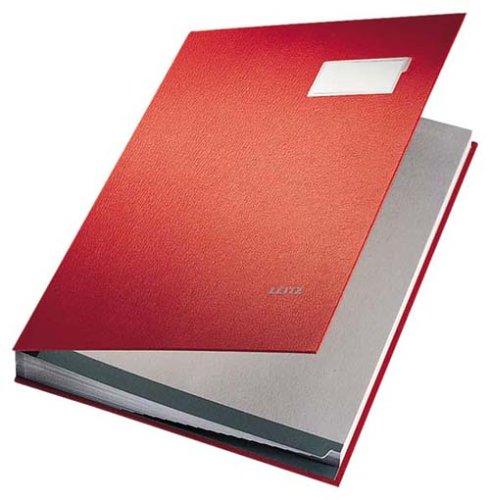 Leitz 57000025 Unterschriftsmappe, 20 Fächer, Überzug PP, rot