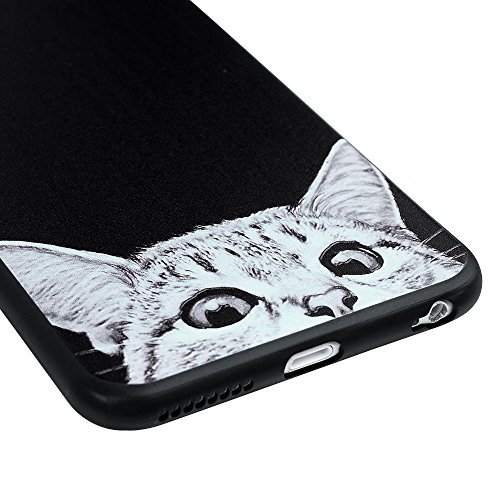 MAXFE.CO TPU Silikon Hülle für iPhone 6 Plus 6S Plus Handyhülle Schale Etui Protective Case Cover Rück mit Ultra slim Skin Prägen Volltonfarbe Design Skin Farbe SharPei Kätzchen