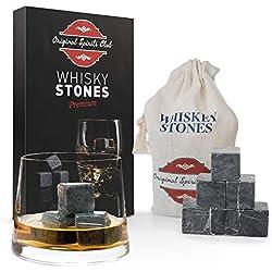 Original Spirits Club Whisky Stones 9 pierres à whisky en marbre, cubes pour boissons et whisky Scotch Pierres de Noël, anniversaire, fête des pères Idées de cadeau pour homme