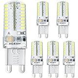 bogao 5pcs g9–Bombilla LED, 3W, equivalente a 20W Lámpara halógena para, 250lm, AC 220V, 64LED 3014SMD, color blanco (6000K), blanco cálido, G9, 3.00 wattsW, 220.00 voltsV