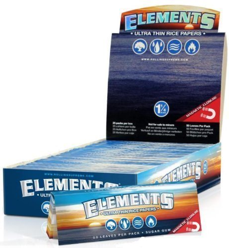 """Preisvergleich Produktbild 12 Packs of Elements Ultra Thin Rice Rolling Papers + Beamer Card - 50 Papers Per Pack! 600 Total Papers! Made to Burn Extra Slow! Has Magnet to Keep Pack Closed! Virtually Zero Ash! - Made to Burn Extra Slow & Even! by """"Beamer Smoke,  hbi"""""""