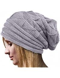 unisex sombrero adulto, Kfnire mujeres hombres invierno knit sombrero oversized ski beanie cap (gris)