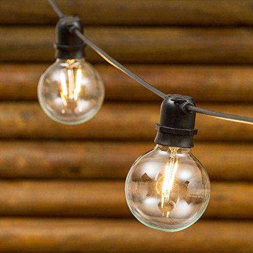 Party Lichterkette 8 m, 10 LED-Birnen warmweiß Ø 80 mm, E27-Fassung, schwarzes Kabel, erweiterbar (Gemütlich Kabel)