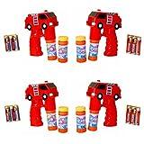 4 x Feuerwehr Auto Seifenblasen Pistole LED Licht Funktion Seifenblasenmaschine Bubbre Gun inkl. 8 x Seifenblasenlösung / Flüssigkeit & 12 AA Ambe Batterie