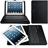 eTopxizu Universal 9-10 Inch PU Leather Touchpad Mouse Portfolio Case with Detachable Removable Wireless Bluetooth Keyboard for All 9/9.7/10.1/10.5 Inch Tablet Support Android & IOS & Windows Black