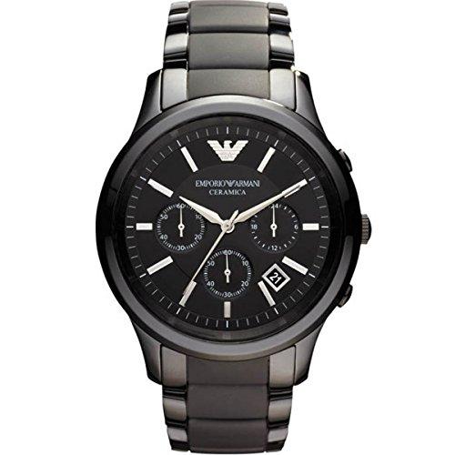 Reloj cronógrafo de pulsera para hombre Emporio Armani AR1452, de cuarzo, esfera de color negro, color mate cerámico