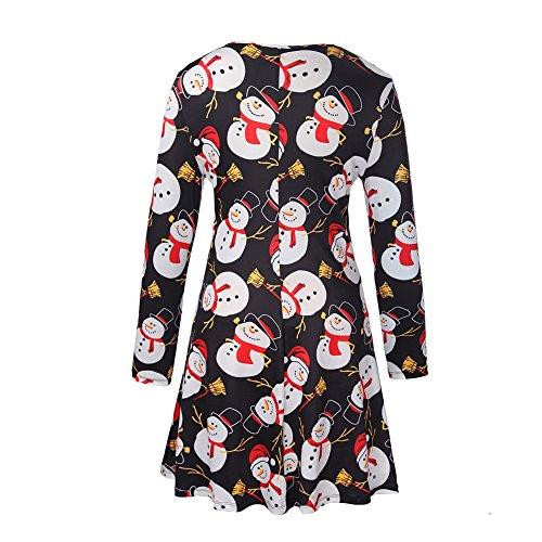 Frauen Mädchen Frauen lange Hülsen Schneemann Weihnachtsweihnachtsgeschenke Print Flared Swing Kleid Oberseite Schneemann # 6