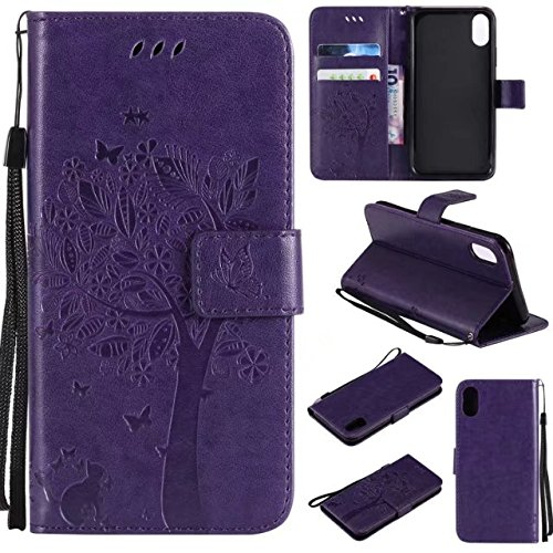 Retro Style Cat et Tree Embossed Pattern Faux Leather Case Cover with Card Slots and Lanyard pour iPhone X ( Color : Green ) Darpurple