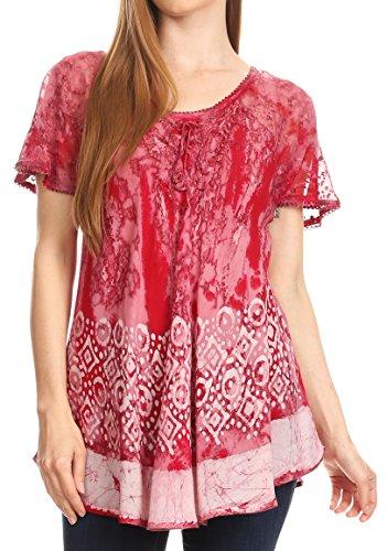 Womens Flowy Peasant Kurzarm Top Bluse Tie-Dye Batik Stickerei - Burgund - OS (Rote Pailletten Korsett Top)