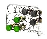 Estante de especias Pisa® con capacidad para 12 tarros, soporte de metal cromado