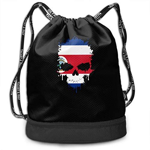 Costa Rica Skull Drawstring Bag Für Herren Und Damen, 100% Polyester Athletic Handtaschen