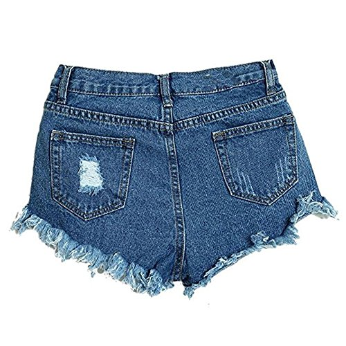 Bepo Frauen Hohe Taille Lace up Riss Hot Shorts Tassel Hot Pants Blue-4