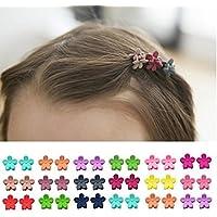 Mini pinzas para el pelo con flor, para niñas, colores surtidos, 40 unidades